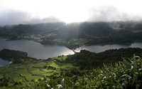 Fog rising above the Lagoa das Sete Cidades wallpaper 2560x1600 jpg
