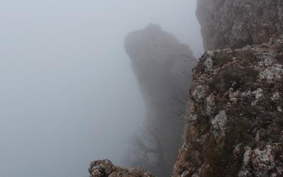 Foggy cliffs wallpaper