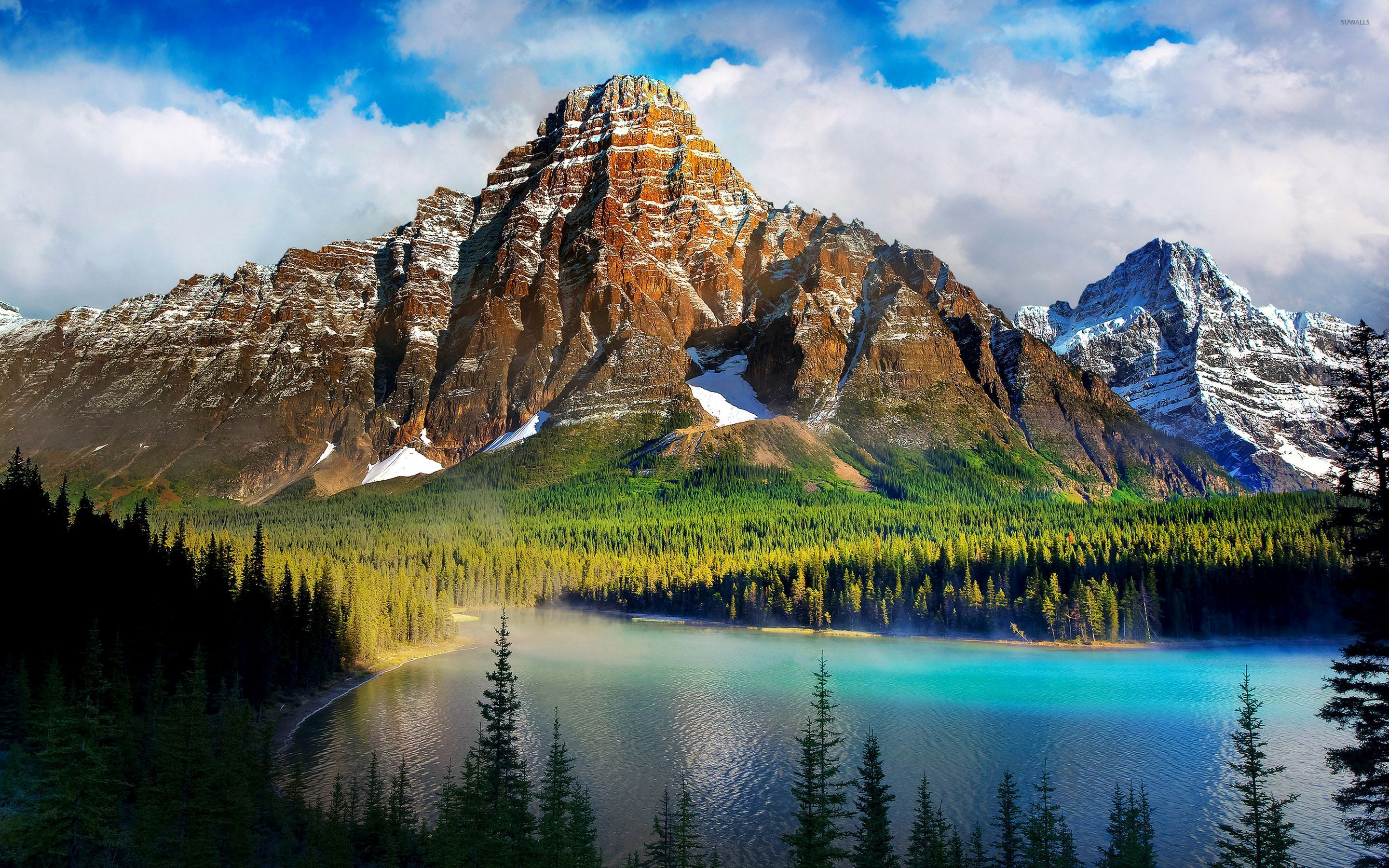 Foggy Lake Hidden In The Mountains Wallpaper Nature