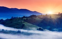 Foggy trails in the valley at sunset wallpaper 2560x1600 jpg