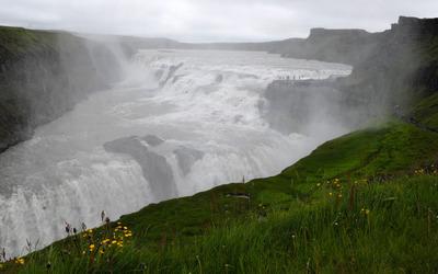 Foggy waterfall wallpaper