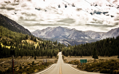 Forest road to June Lake wallpaper
