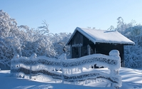 Frozen nature by the old hut wallpaper 2560x1600 jpg