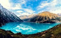 Fuzzy clouds reflecting in Big Almaty Lake wallpaper 2560x1600 jpg