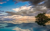Fuzzy clouds reflecting in the water wallpaper 1920x1200 jpg