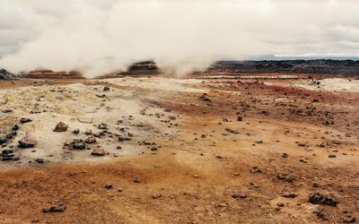 Geysers in the lava field wallpaper