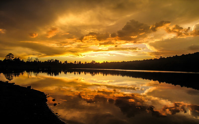 Gilded sunset reflecting in the lake wallpaper