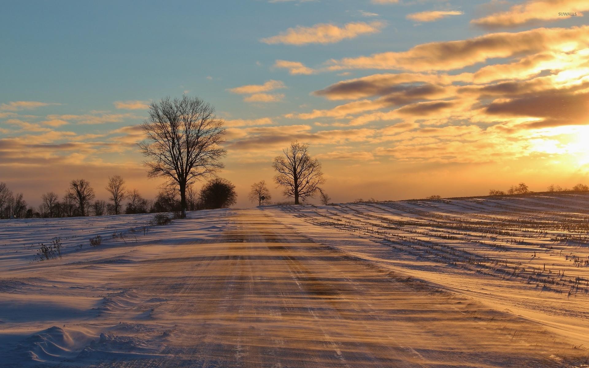 Закат дорога зима бесплатно