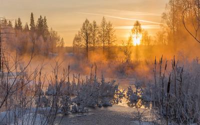 Gorgeous winter sunset wallpaper