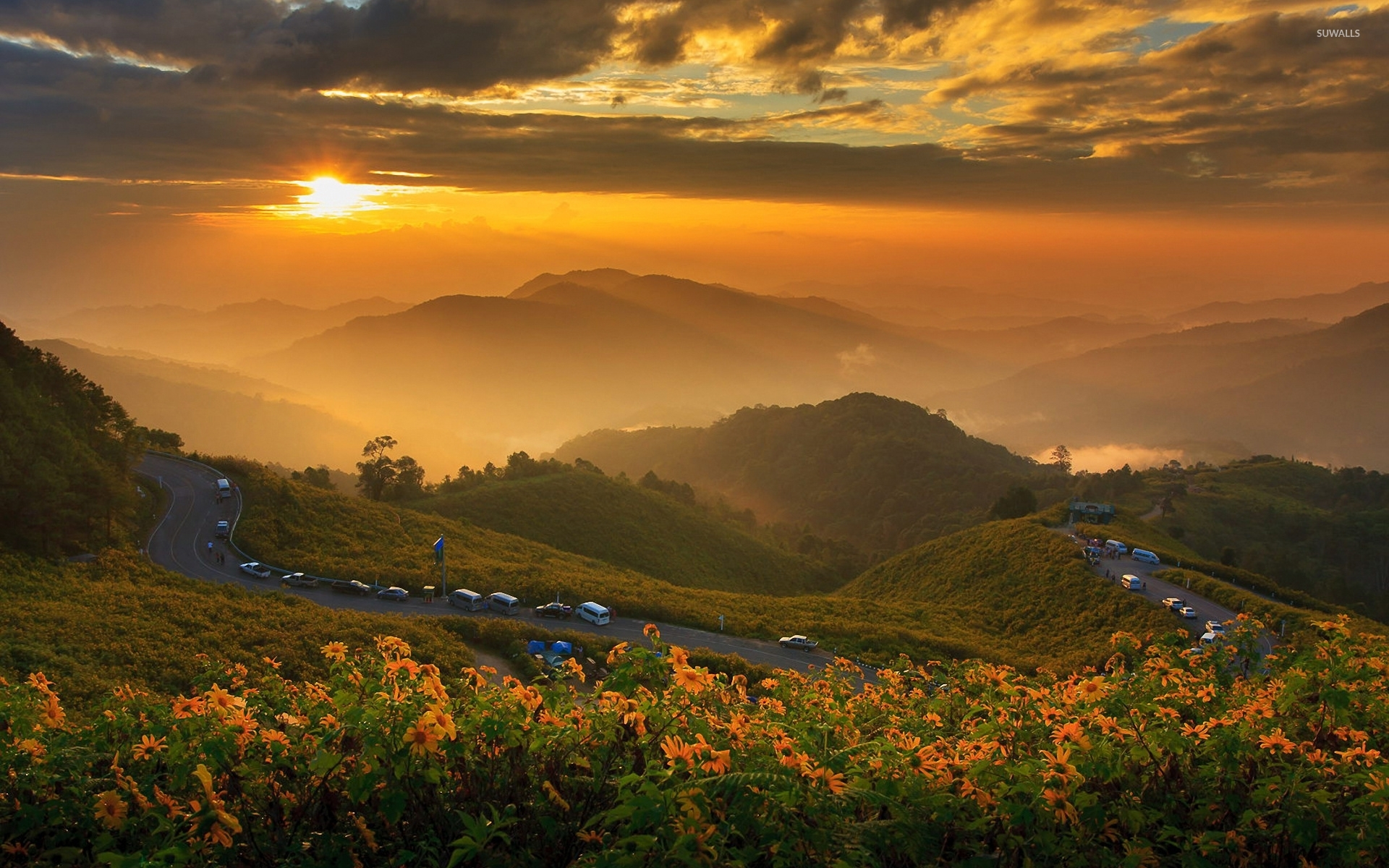 Great golden sunset in the mountains wallpaper - Nature ...