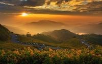 Great golden sunset in the mountains wallpaper 1920x1200 jpg