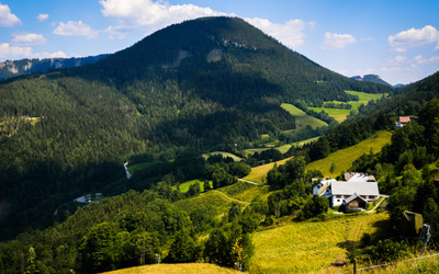 Green mountains in Annaberg wallpaper