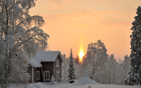 House in the snowy forest wallpaper 1920x1080 jpg
