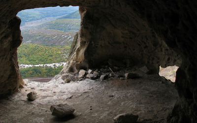 Inside of rocky cave cliff wallpaper