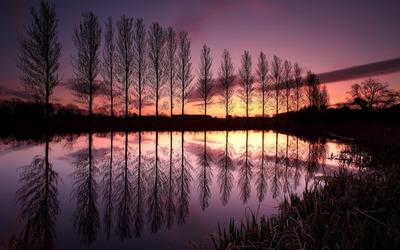 Lake during sunset, England wallpaper