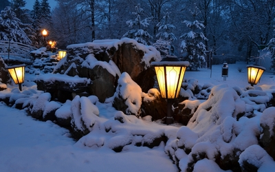 Lamps in the snowy park wallpaper