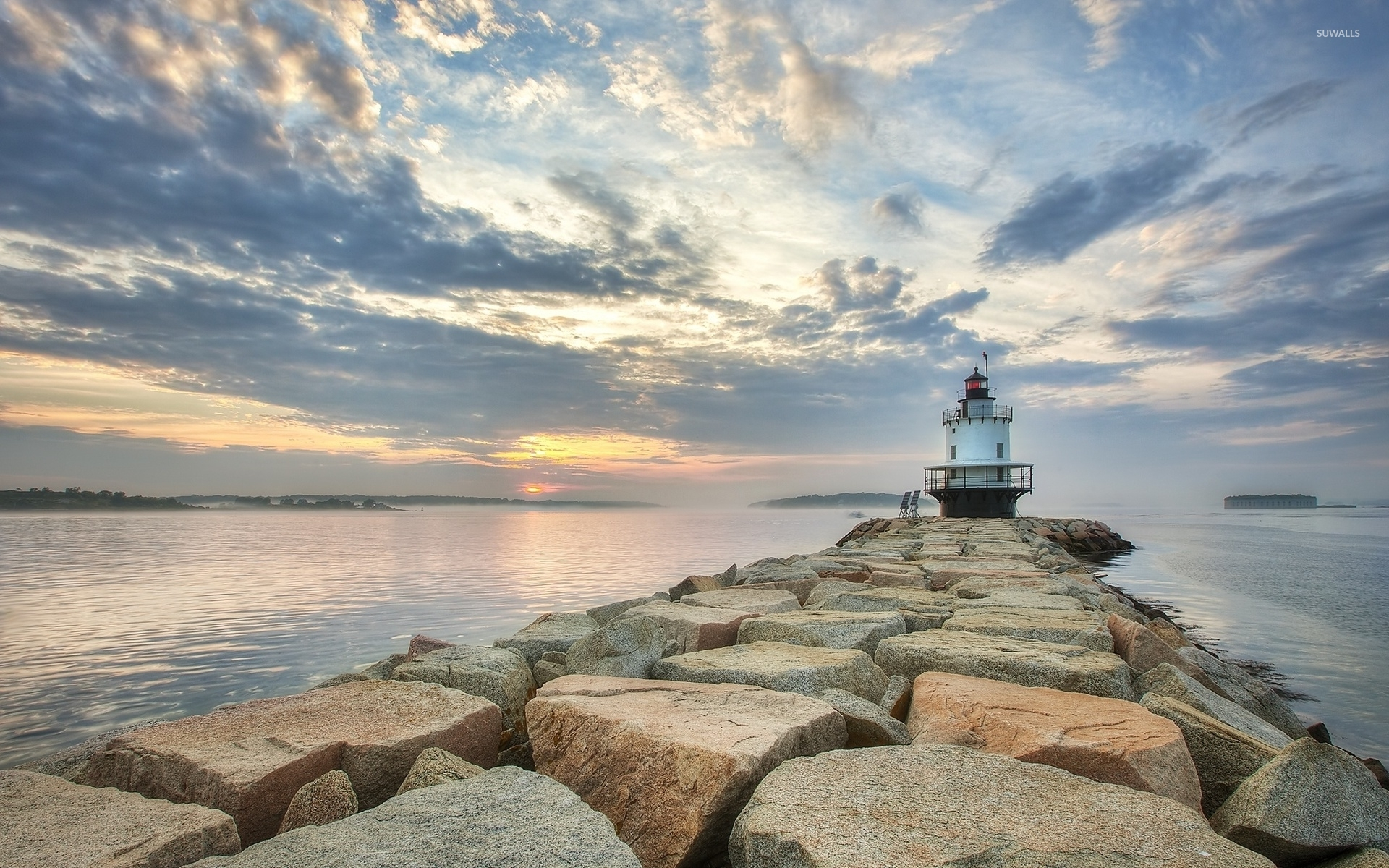 Lighthouse On Stone Island Wallpaper Nature Wallpapers