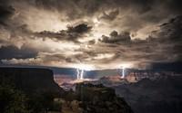 Lightning strikes in the Grand Canyon wallpaper 1920x1200 jpg