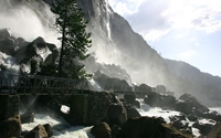 Metallic bridge over the waterfall wallpaper 1920x1200 jpg