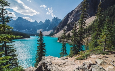 Moraine Lake on a sunny day wallpaper