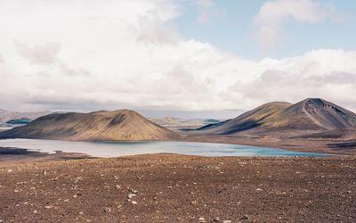 Mountain lake in the dry land Wallpaper