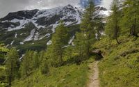 Mountain path towards the snowy peaks wallpaper 3840x2160 jpg