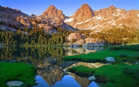 Mountain peaks reflecting in the mirror of the lake wallpaper 1920x1200 jpg