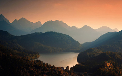 Mountain sunset over the lake wallpaper