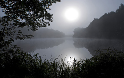 Mysterious foggy lake wallpaper