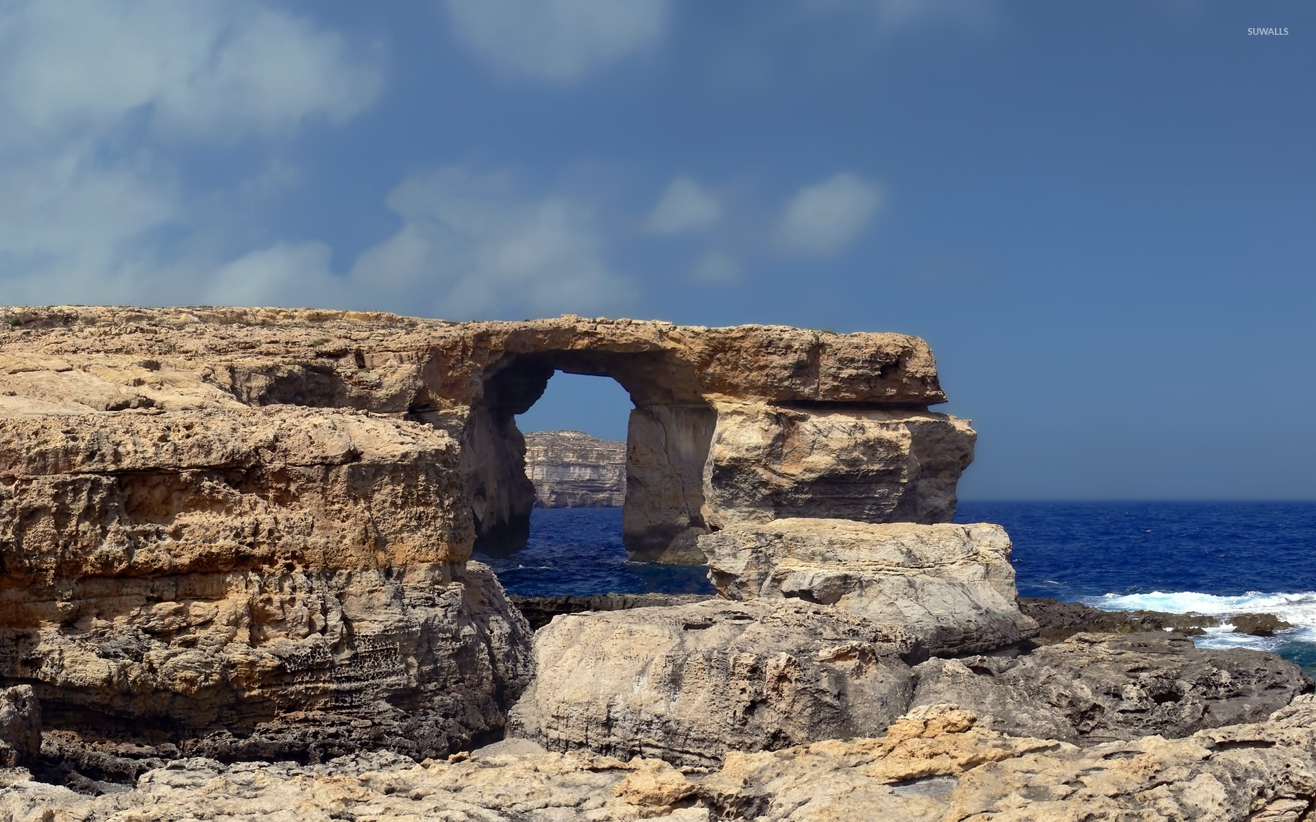 natural arch in the rocky shore wallpaper nature