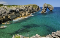 Natural stone arch in the crystal clear water wallpaper 1920x1080 jpg
