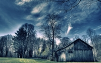Old barn in the forest wallpaper 1920x1200 jpg