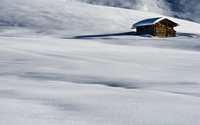 Old hut surrounded by snow wallpaper 1920x1200 jpg