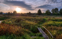 Old wooden bridge on the path to the houses wallpaper 2560x1600 jpg