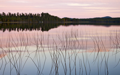 Pale purple sunset reflecting in the lake wallpaper