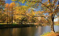 Park on the river side wallpaper 2880x1800 jpg