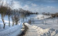 Path through the snow wallpaper 2560x1600 jpg
