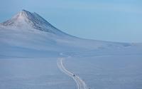 Path through the snowy mountain wallpaper 2560x1600 jpg