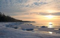Peaceful sunset over the frozen land by the ocean wallpaper 1920x1080 jpg