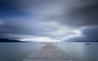 Pier to the foggy lake wallpaper