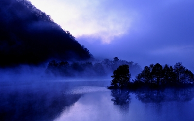 Purple foggy lake wallpaper