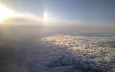 Rainbow above the clouds wallpaper