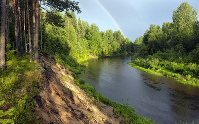 Rainbow at the river wallpaper