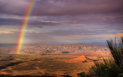 Rainbow over Atacama Desert in Chile wallpaper