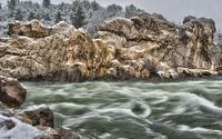 Rainy day over the whirling river wallpaper 2560x1440 jpg