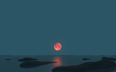 Red moon over the sea wallpaper