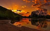 River bank sunset wallpaper 1920x1200 jpg