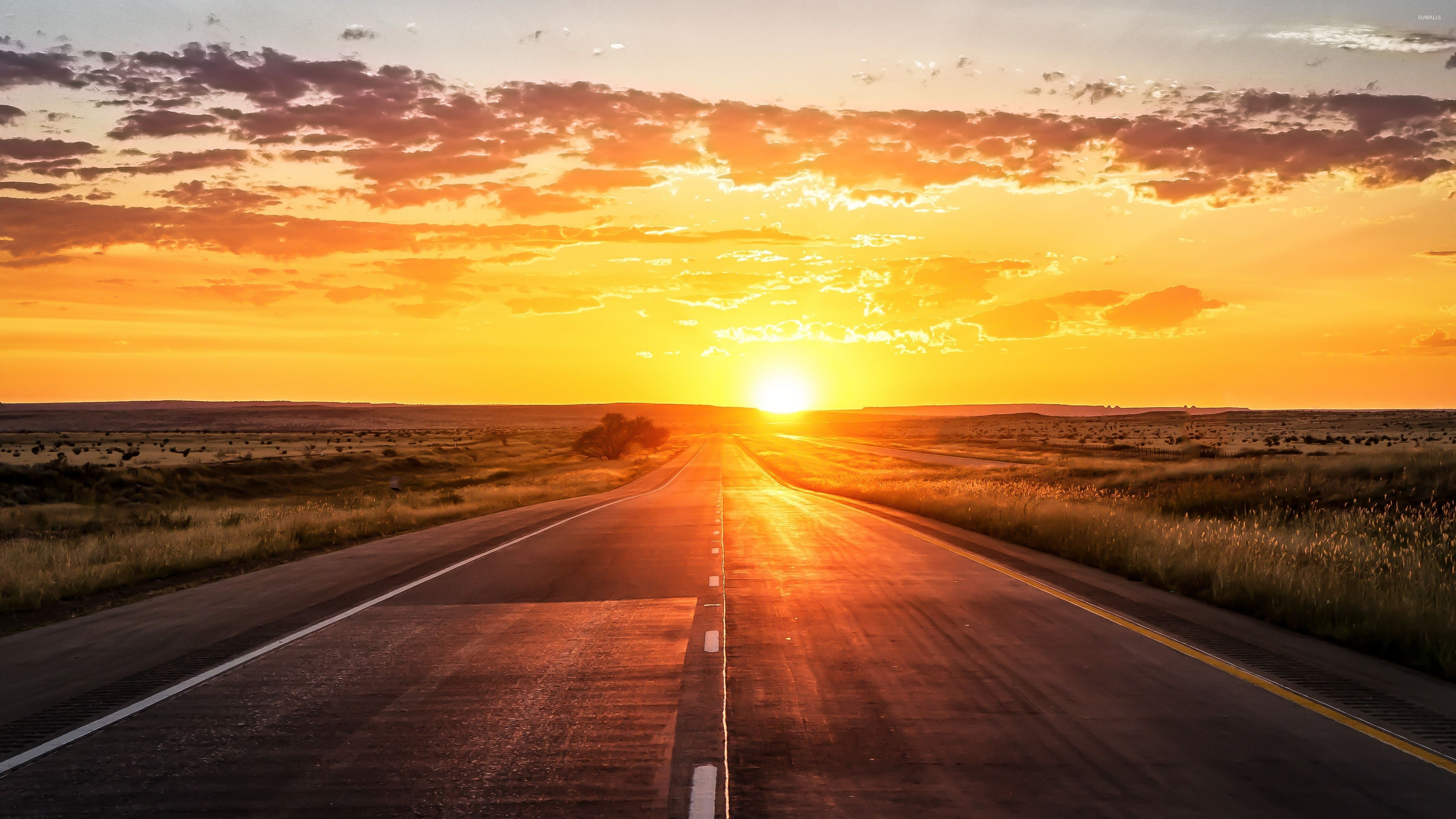 Road Sunset Wallpaper Road towards the golde...