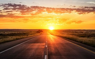 Road towards the golden sunset wallpaper