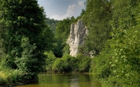 Rock rising from the forest by the lake wallpaper 2560x1600 jpg